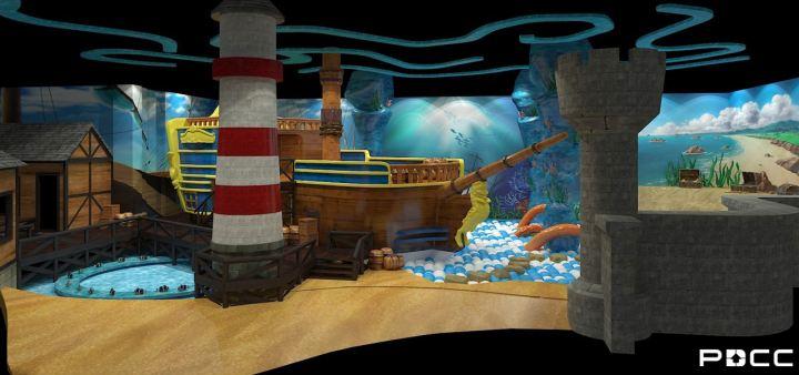 海底沉船主题不仅造型设计惟妙惟肖,而且色彩设计也力主营造深底海洋