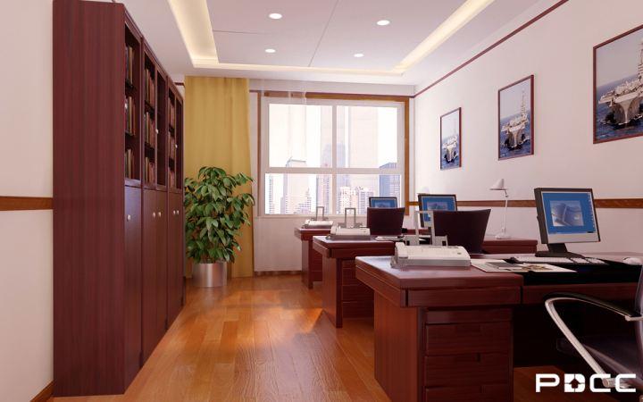 简约风格的办公室设计,办公家具全以红棕色原木打造,墙面规整地悬挂兵