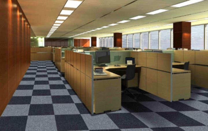 现代办公室装修中的PVC编织地毯