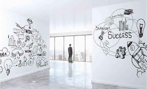 进行办公室装修,可以这样来做墙面